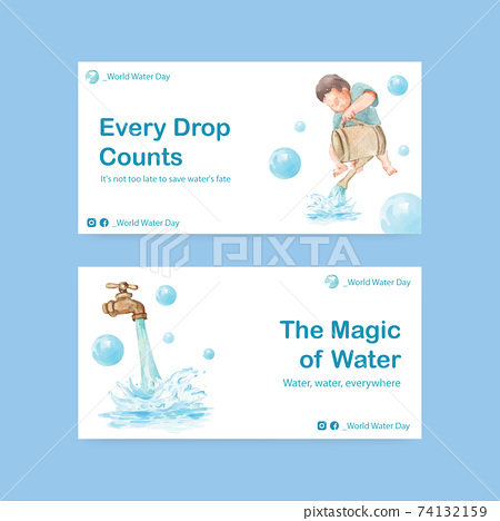 Twister template with world water day concept design for social media and community watercolor vector illustration 74132159