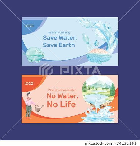 Twister template with world water day concept design for social media and community watercolor vector illustration 74132161