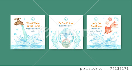 Advertise template with world water day concept design for business and marketing watercolor vector illustration 74132171