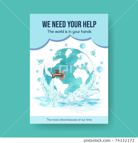 Poster template with world water day concept design for advertise and marketing watercolor vector illustration 74132172