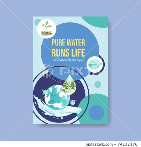 Poster template with world water day concept design for advertise and marketing watercolor vector illustration 74132176