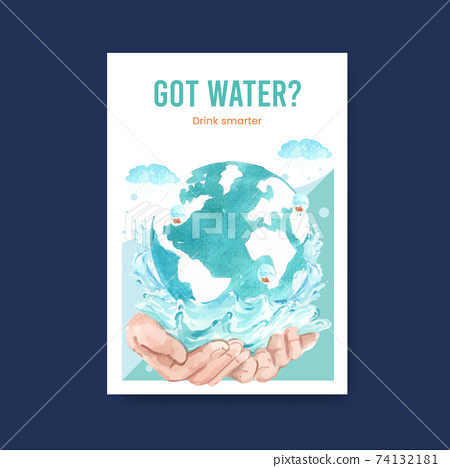 Poster template with world water day concept design for advertise and marketing watercolor vector illustration 74132181