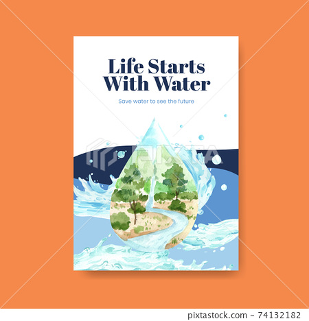 Poster template with world water day concept design for advertise and marketing watercolor vector illustration 74132182