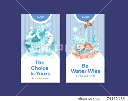 Instagram template with world water day concept design for social media watercolor vector illustration 74132186