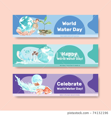 Banner template with world water day concept design for advertise and marketing watercolor vector illustration 74132196