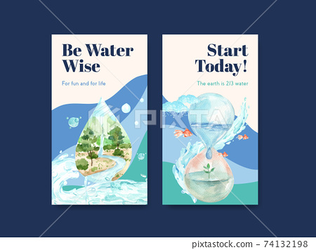 Instagram template with world water day concept design for social media watercolor vector illustration 74132198