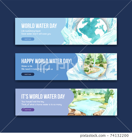 Banner template with world water day concept design for advertise and marketing watercolor vector illustration 74132200