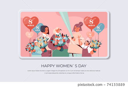 happy women with flowers and air balloons making selfie photo womens day 8 march holiday celebration concept 74133889