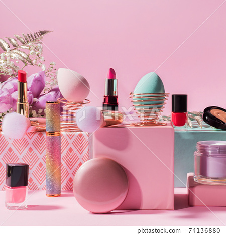 Make up tools, products on geometric podiums on pink 74136880