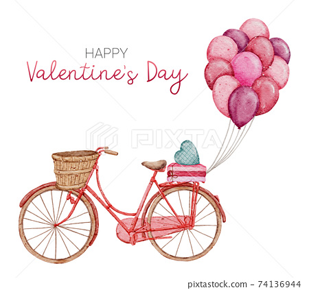 Valentine Pink Bike Cute Card hand paint Watercolour  isolated on white background 74136944
