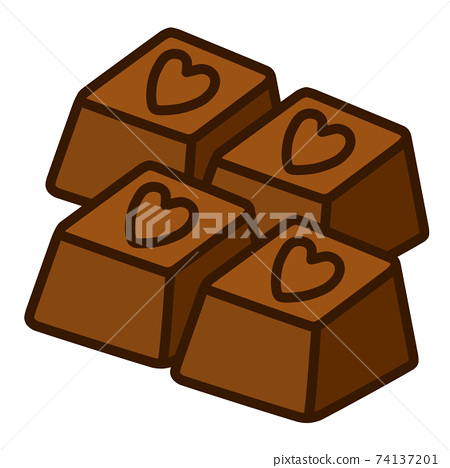 4 heart-shaped chocolates 74137201