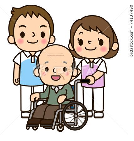 護老者男人和女人推著輪椅 74137490
