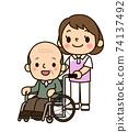 推著輪椅的照顧者女人 74137492