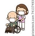 戴口罩的照料者女人推輪椅 74137493