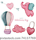 Valentine Element hand paint Watercolour  isolated on white background 74137769