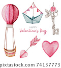 Valentine Element hand paint Watercolour  isolated on white background 74137773