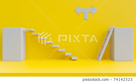 Ladders on yellow background. 74142523