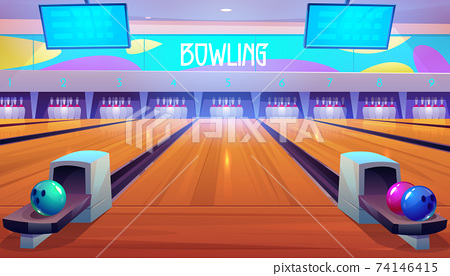Bowling alleys with balls, pins and scoreboards. 74146415