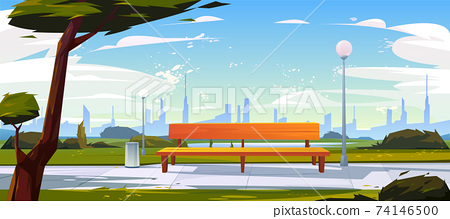 Bench in park summer time landscape with city view 74146500