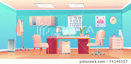 Doctor therapist office with stuff and equipment 74146507