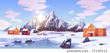 Winter mountain landscape with houses or chalets 74146519