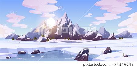 Northern nature landscape with mountains vector 74146645