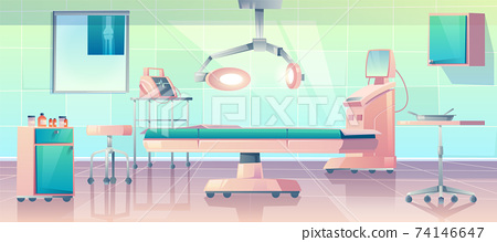Surgery room, operating with medical equipment 74146647
