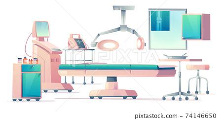Surgery room, operating medical equipment set 74146650