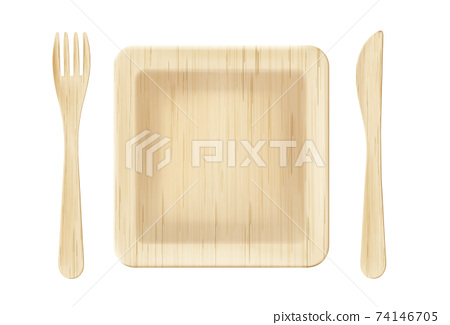 Wooden plate with fork and knife top view clip art 74146705