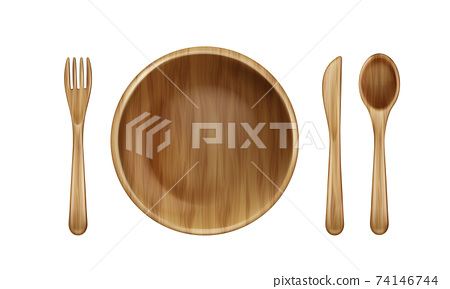 Wooden plate, fork, spoon and knife top view. 74146744