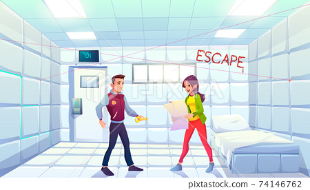 Quest escape asylum room people searching exit 74146762