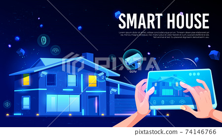 Smart house remote control cartoon vector concept 74146766