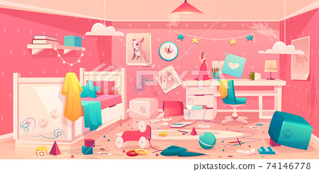 Little girl messy bedroom cartoon vector interior 74146778
