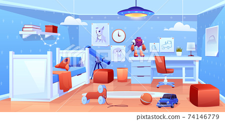Little boy cozy bedroom interior cartoon vector 74146779