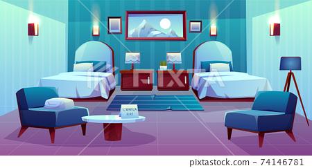Hotel double room cartoon vector interior 74146781