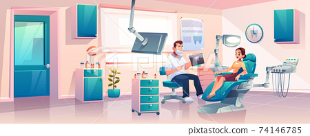 Women on appointment in dentist clinic vector 74146785