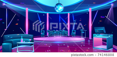 Nightclub dance floor cartoon vector interior 74146808