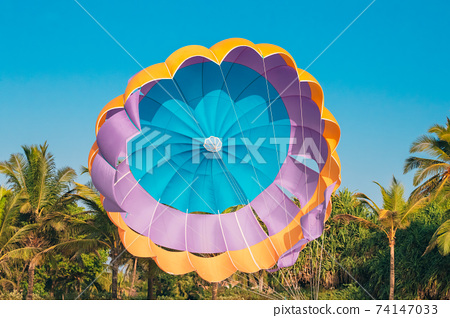 Multi-colored Parachute For Parasailing On Background Of Palm Trees And Blue Sky 74147033