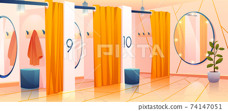 Fitting rooms in store, row of dressing cabins 74147051
