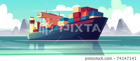 Vector dry-cargo ship at sea, loaded boat 74147141