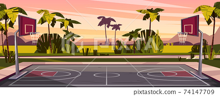 Vector cartoon background of street basketball court 74147709