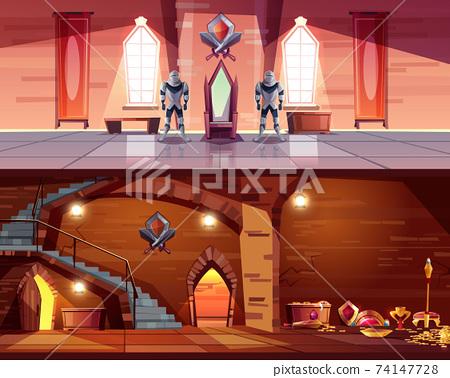 Medieval castle ballroom, dungeon interior vector 74147728
