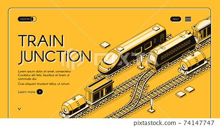 Railway junction isometric vector website template 74147747
