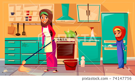 Vector arab mother daughter cleaning together 74147756