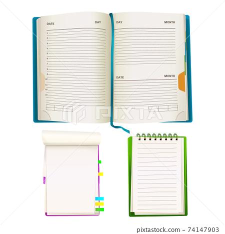 Vector cartoon notepad and notebooks set 74147903
