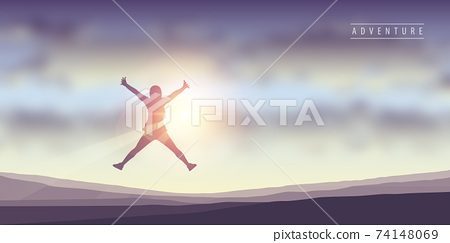 happy girl with raised arms jumps at sunshine 74148069
