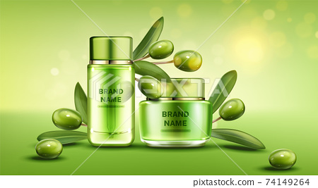 Olive cosmetic bottles natural beauty product line 74149264