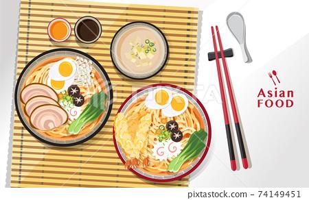 Japanese ramen noodle, Traditional Asian noodle soup, Illustration vector. 74149451