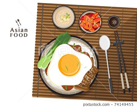 Donburi pork rice bowl with egg, lettuce toping 74149455