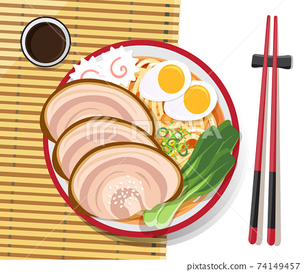 Japanese ramen noodle, Traditional Asian noodle soup, Illustration vector. 74149457